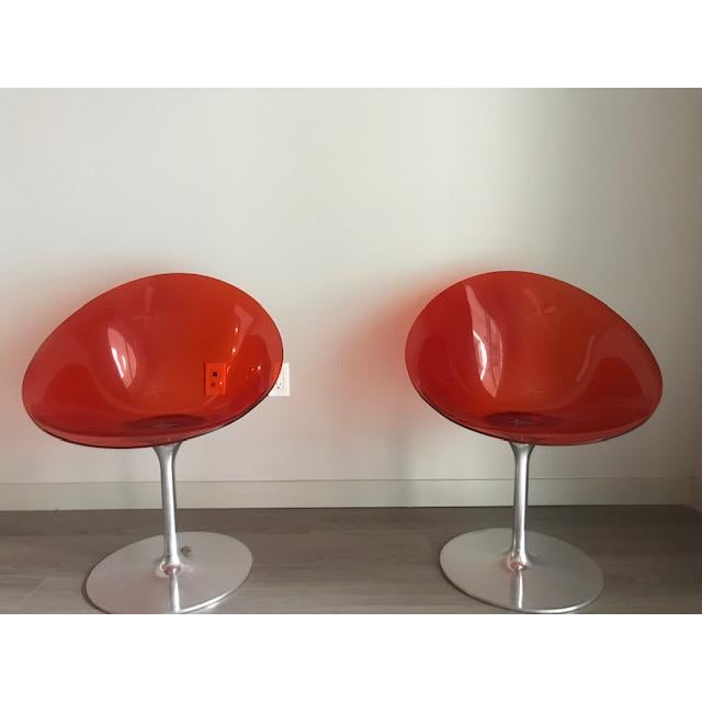 1960s Kartell Opaque Red Chairs by Philippe Starck - A Pair For Sale - Image 5 of 6