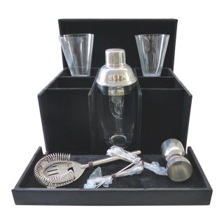 Vintage Leatherette Martini Travel Bar Kit - 11 Pieces