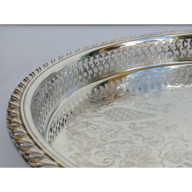 Silverplate Pierced Large Celtic Server Tray or Platter For Sale In West Palm - Image 6 of 10