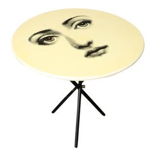 Vintage Fornasetti Side Table with Iconic Face and Original Label For Sale