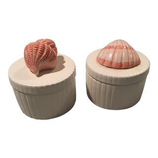 Fitz and Floyd Round Shell Boxes - a Pair