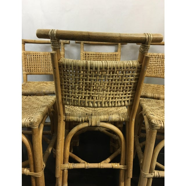 Vintage Bamboo and Rattan Chairs - Set of 6 - Image 6 of 10