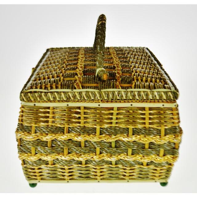 Vintage Japanese Wicker Sewing Basket For Sale - Image 4 of 13