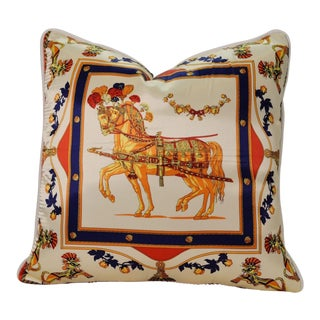 Orange Horse Silk Pillow For Sale