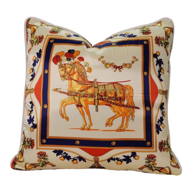 Orange Horse Silk Pillow For Sale