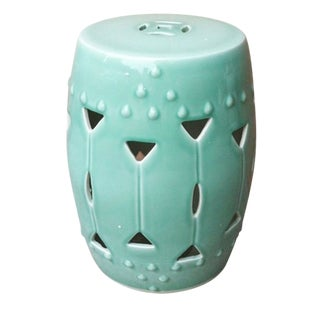 Asian Modern Carved Triangle Celadon Porcelain Round Stool For Sale