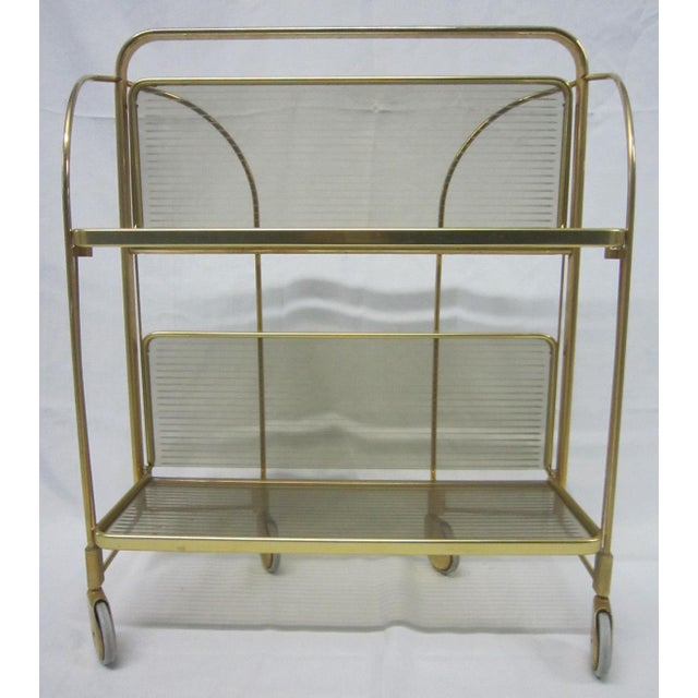 Gold Tone Folding Bar Cart - Image 2 of 5
