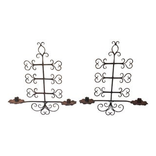 Forged Iron Wall Candle Holder Sconces - A Pair