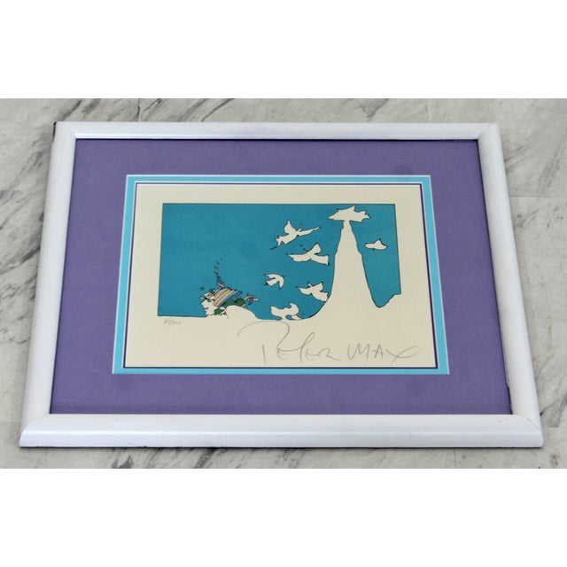 Mid-Century Modern Mid-Century Modern Framed Peter Max Signed Lithograph Winters Dream 87/300 For Sale - Image 3 of 7