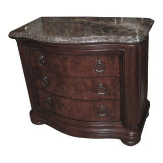 English Traditional Thomasville British Gentry Marble Top Burl Wood Bedside Chest For Sale