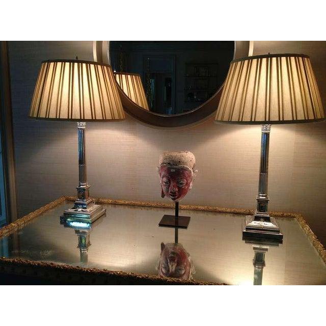 Pair of English Corinthian Column Silver Lamps - Image 5 of 8