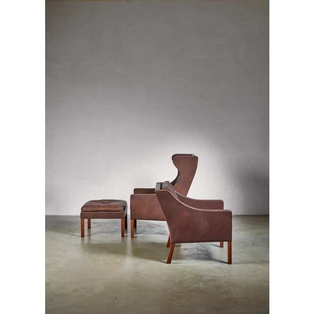 Mid-Century Modern Borge Mogensen Brown Leather Wingback and Lounge Chair With Ottoman For Sale - Image 3 of 7