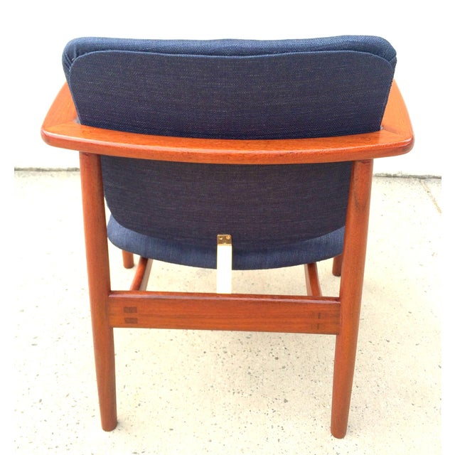 Danish Modern Børge Mogensen Lænestol Armchair in Blue For Sale - Image 10 of 10