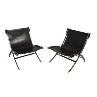 Antonio Citterio Flexform Italian Chrome & Black Leather Pair Scissor Lounge Chairs For Sale