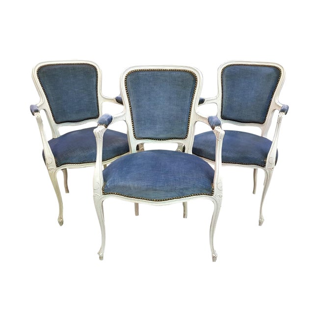 Set of 3 Large French Vintage Whitewashed Velvet Blue Upholstery Louis XV Armchairs For Sale