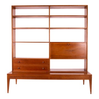 George Nelson Style 2 Piece Mid Century Walnut Room Divider With Bar For Sale