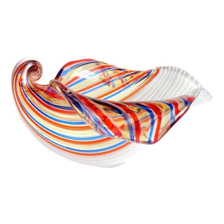 Vintage Dino Martens Aureliano Toso Murano Italian Art Glass Seashell Bowl For Sale