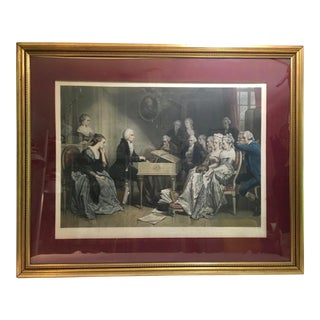 Large Antique French Engraving Print of Mozart in Vienna From 1840