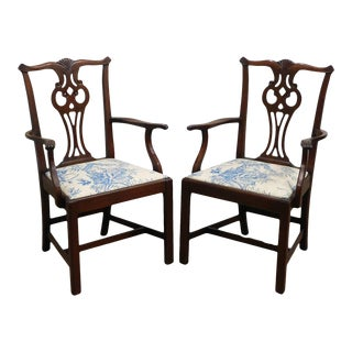 Hickory Chair Mahogany Chippendale Style Pair Armchairs For Sale