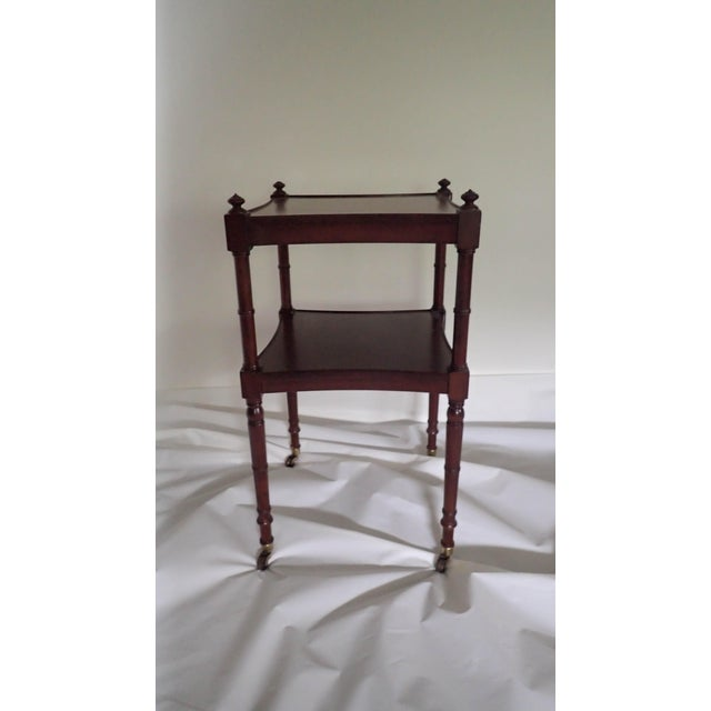 Baker Tea Cart Faux-Bamboo Mid-Century Modern Style C.1980's Mahogany Excellent - Image 2 of 5
