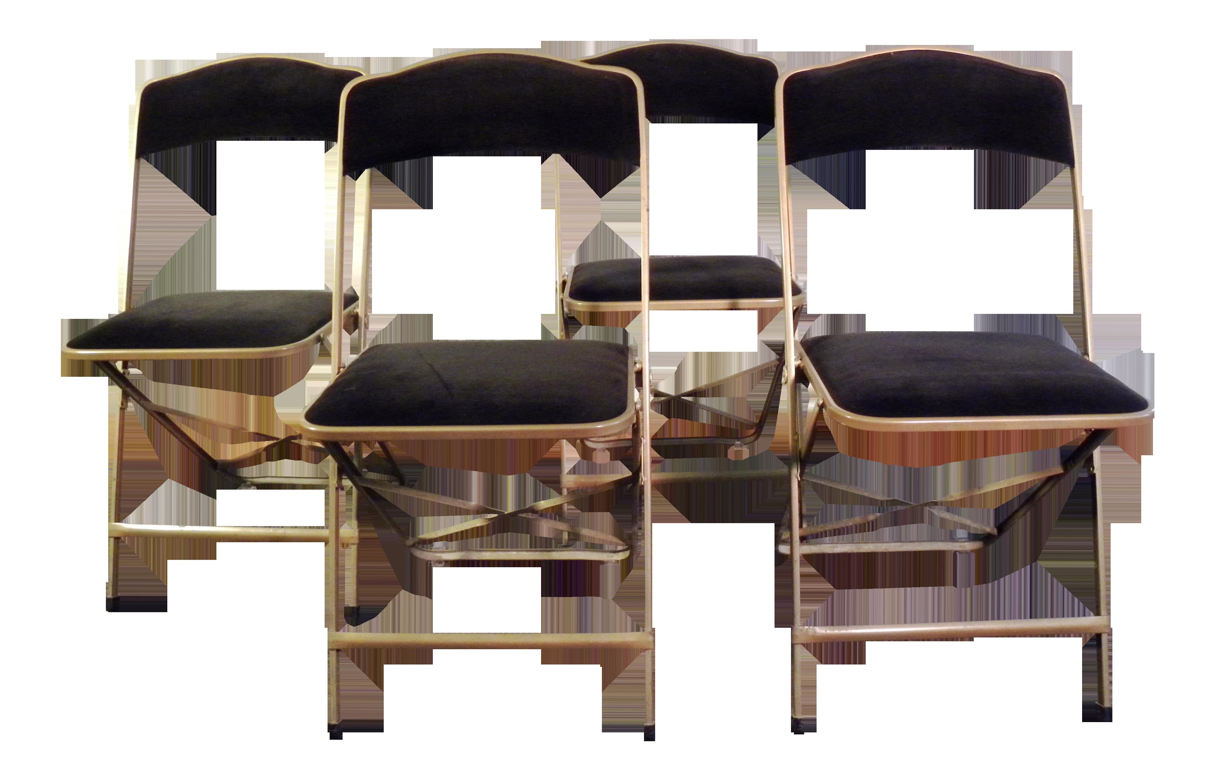 Vintage Mid Century Black Velvet Folding Chairs   Set Of 4