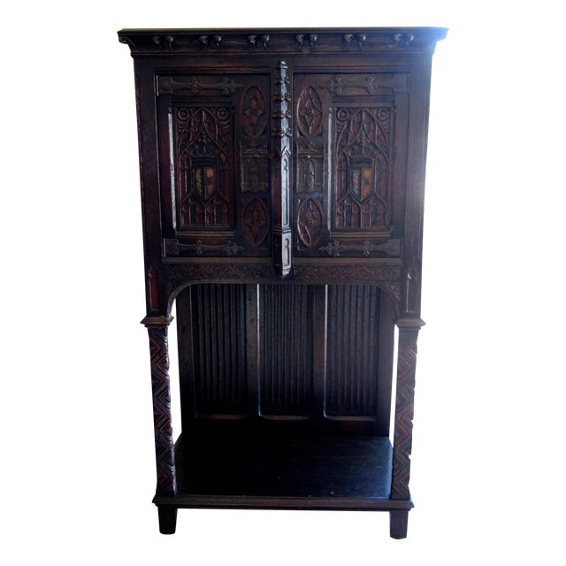 Gothic Revival Carved Oak Monastery Cabinet - Image 1 of 10