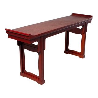 Baker Furniture Crackled Red Chinese Style Altar Console Table For Sale
