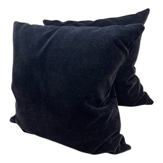 Old World Weavers Black Mohair Throw Pillows - a Pair For Sale