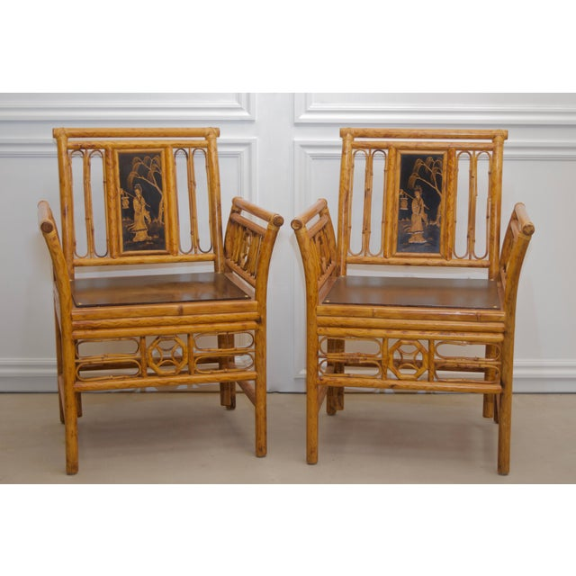1980s Maitland Smith Bamboo Chinoiserie Asian Chairs - a Pair For Sale - Image 11 of 11