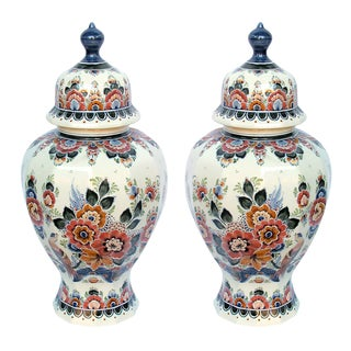 Delft Hand-Painted Covered Jars Signed by the Artist P. Verhoeve - a Pair For Sale