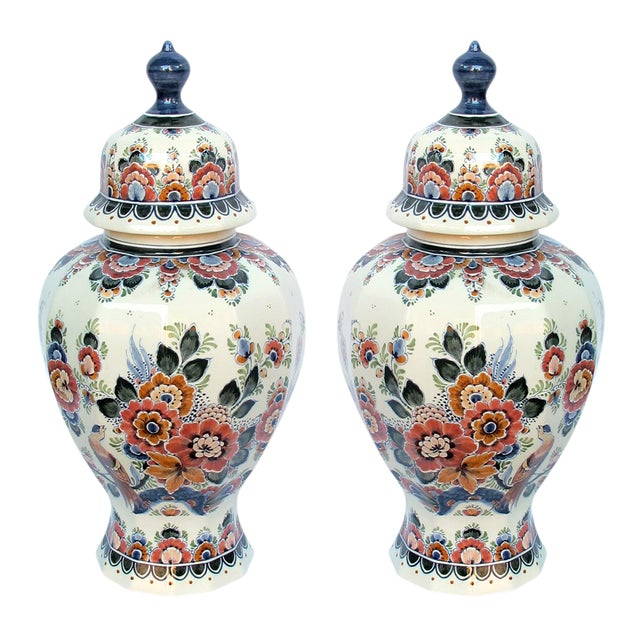Pair of Delft Hand-Painted Covered Jars Signed by the Artist P. Verhoeve For Sale
