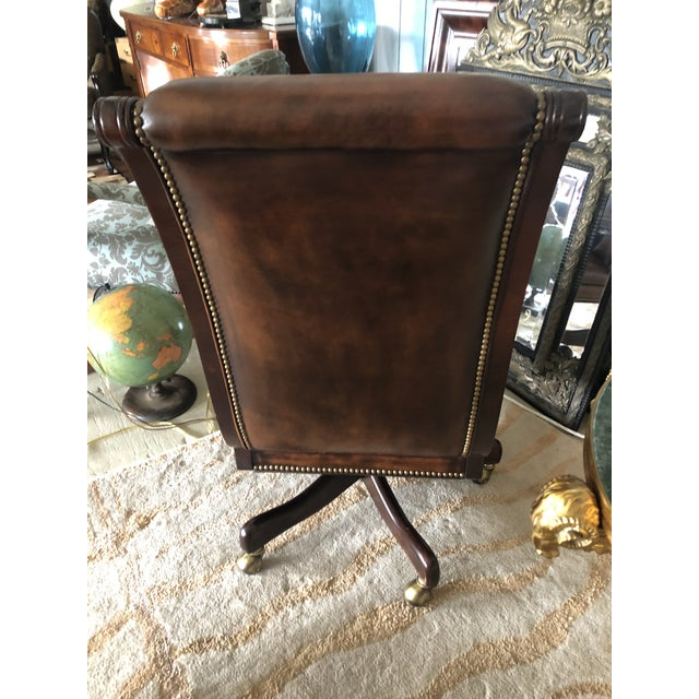 Brown Tufted Swivel Leather and Wood Desk Chair For Sale - Image 8 of 12