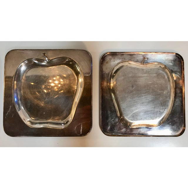 1970s 1970s Vintage Italian Chrome Square Cocktail Plates - Set of 6 For Sale - Image 5 of 8