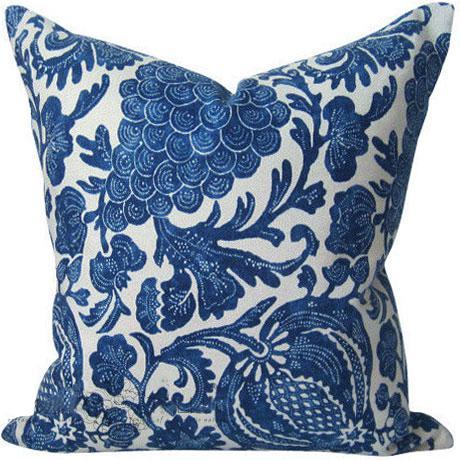 Indigo Batik Floral Decorative Pillow Cover For Sale In Portland, OR - Image 6 of 6
