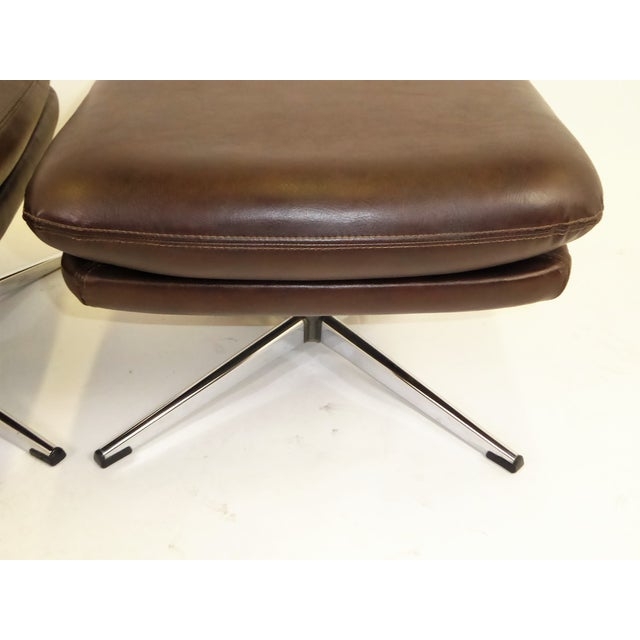 1970s 1970s Overman Swivel Foot Stools Benches in Dark Brown Leatherette- A Pair For Sale - Image 5 of 13