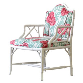 Reupholstered Faux Bamboo Accent Chair