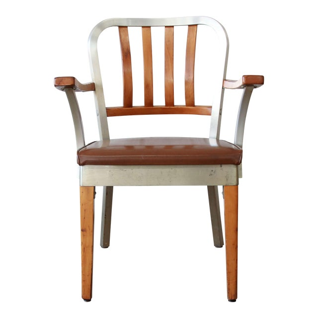 1950s Shaw Walker Maple and Aluminium Armchair With Leather Seat For Sale