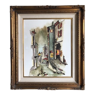 "Vintage Mid-Century P. Vignot Paris Street Scene ""La Rue De Tournet De Paris"" Original Watercolor Signed Painting For Sale"