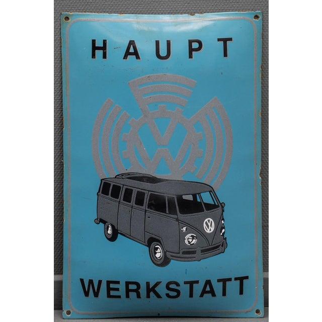Vintage Enameled Advertising Sign Vw Volkswagen For Sale - Image 6 of 6