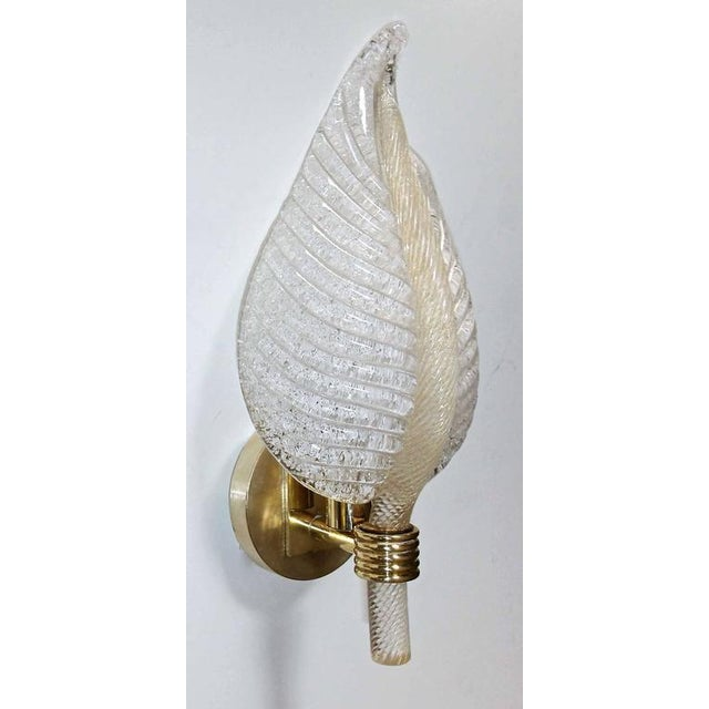 1950s 1950s Mid-Century Modern Barovier Murano Rugiadoso Leaf Wall Sconces - a Pair For Sale - Image 5 of 11