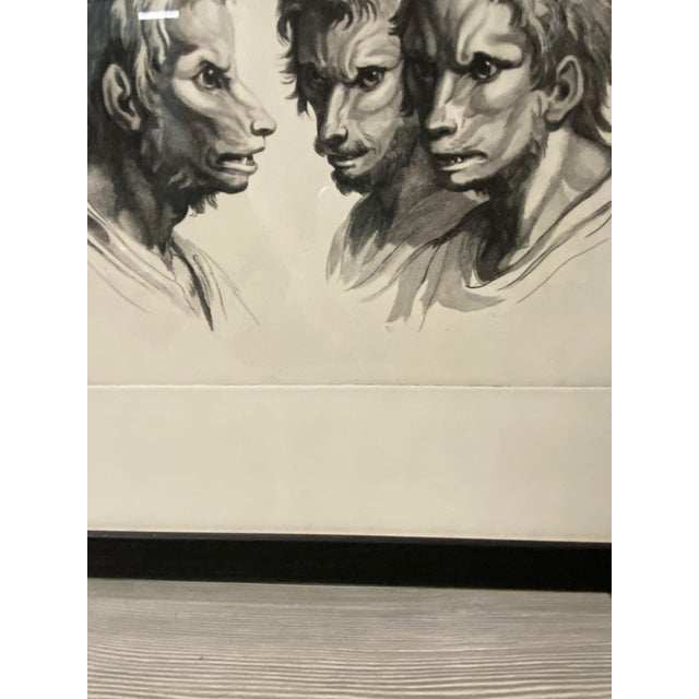 Man as Fox - Physiognomic Heads Series Framed Illustration by Charles Le Bru For Sale - Image 4 of 11