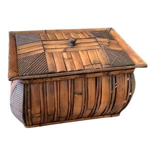 1970s Large Boho Chic Bamboo Box With Removable Top For Sale
