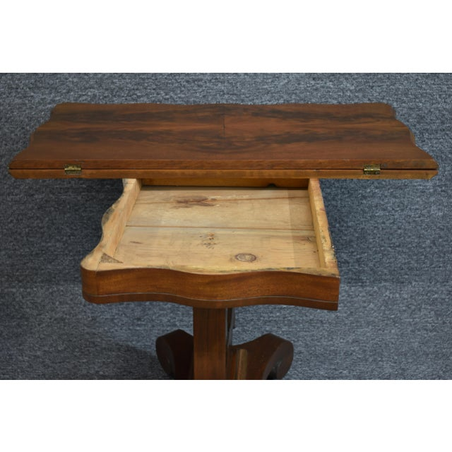 Auburn Antique Empire 1830s Mahogany Lyre Base Game Table For Sale - Image 8 of 11