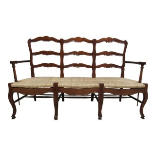 1990s Vintage Mahogany French Country Ladder Back Rush Seat Settee For Sale