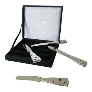 Silver Plate Cheese Wedge-Shaped Pate' Boxed Knive Set - 5 Pieces For Sale