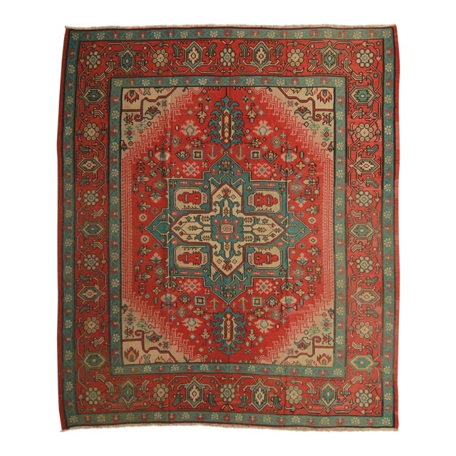 Hand Knotted Vintage Geometric Rug - 9' X 10' For Sale