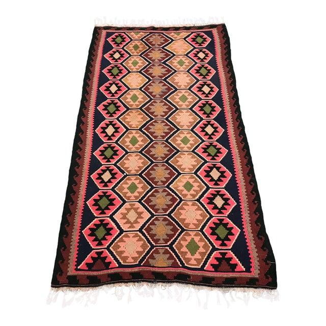 1990s Vintage Handmade East Turkey Kilim Rug- 3′4″ × 5′8″ For Sale