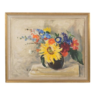 Floral Still Life With a Sunflower Oil on Canvas For Sale