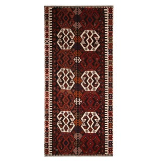 Vintage Mid-Century Malatya Red and Off-White Wool Kilim Rug- 5′10″ × 12′2″ For Sale