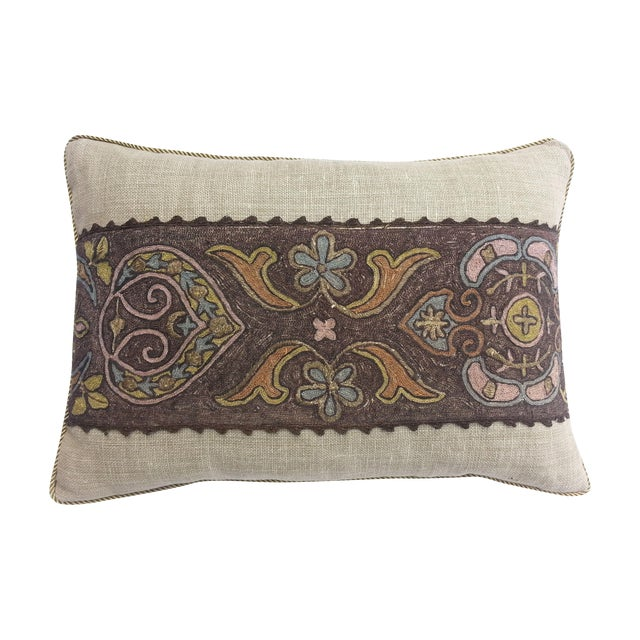 French metallic embroidered pillow - Image 1 of 3